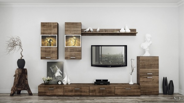 Modern entertainment units have added interest in a rustic wood finish, complemented here by a tree stump side table.