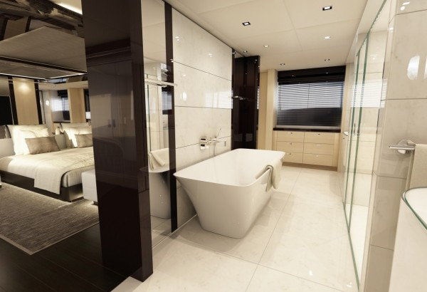 The en suite bathroom is another light and welcoming space.