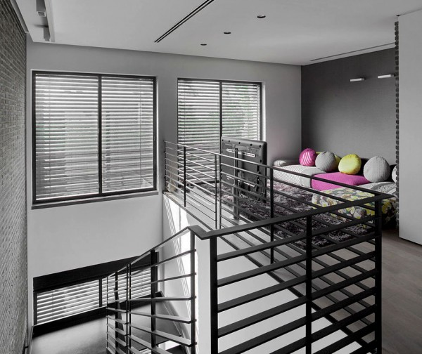 A mezzanine lounge area receives another fun hit of color.