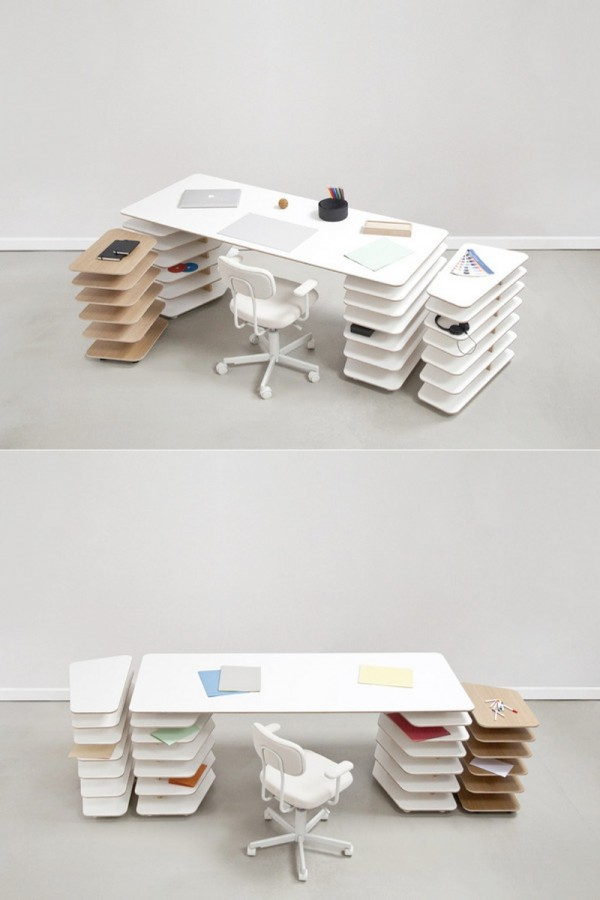 Floating shelves desk.