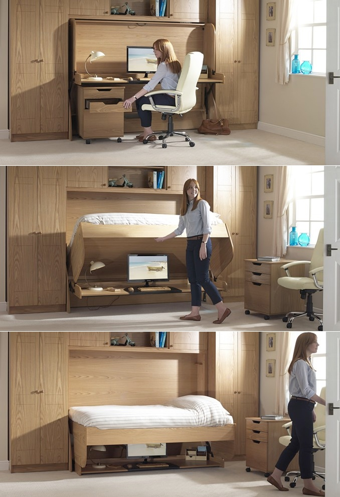 Fold Away Study Bed - 30 inspirational home office desks