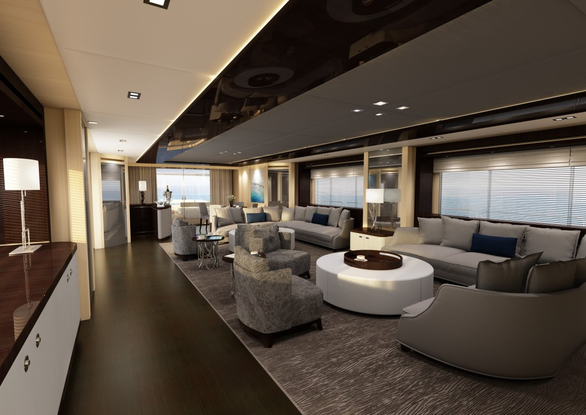 Yacht Living Room - Luxury yacht interior design