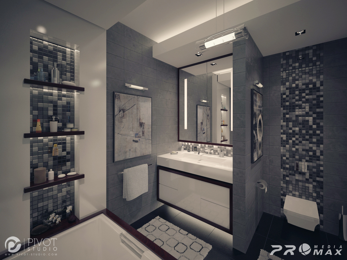 Gray white bathroom interior design ideas for Grey interior designs