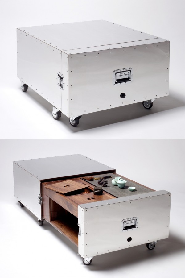 Countertop concealed in a movable metal crate which could come in handy if you decide to change where you cook from.