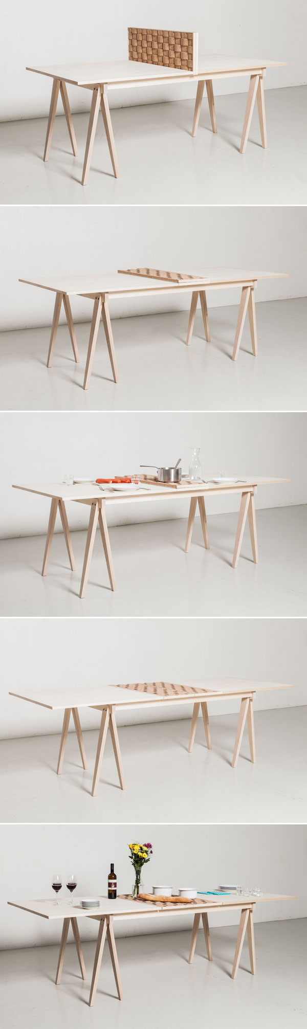 This table offers a split use where one end can be used as a desk, hidden from sight when dining by a built-in cork screen.