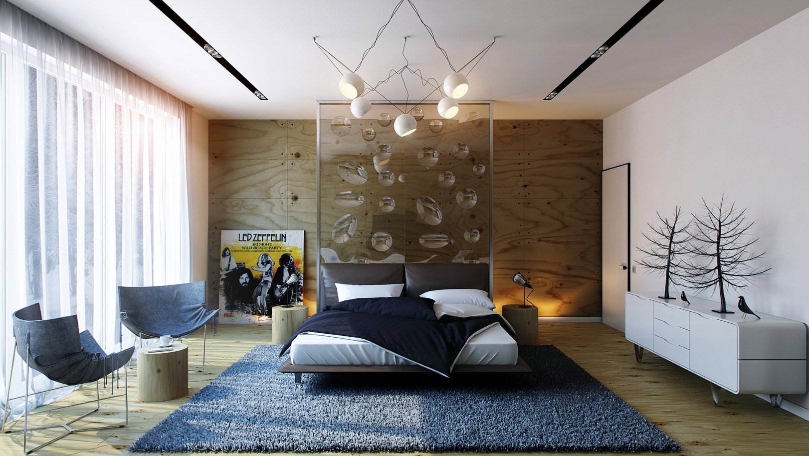 20 modern bedroom designs for Front room feature wallpaper