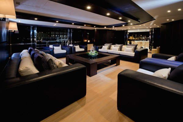 The yacht is a great place for guests, offering vast relaxation areas and even a bar.