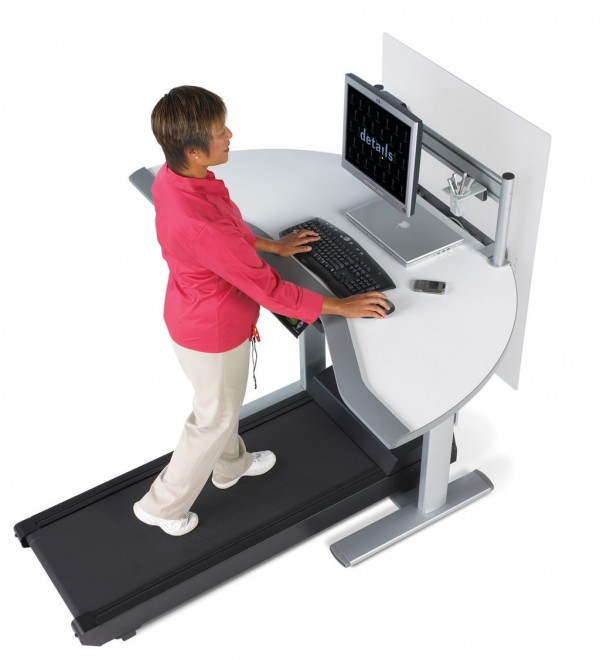 If you fear the health hazards from a sedentary lifestyle of working too much at your desk, the treadmill desk is an ideal solution. The model shown here is rather expensive but there are other inexpensive options on the market to choose from.