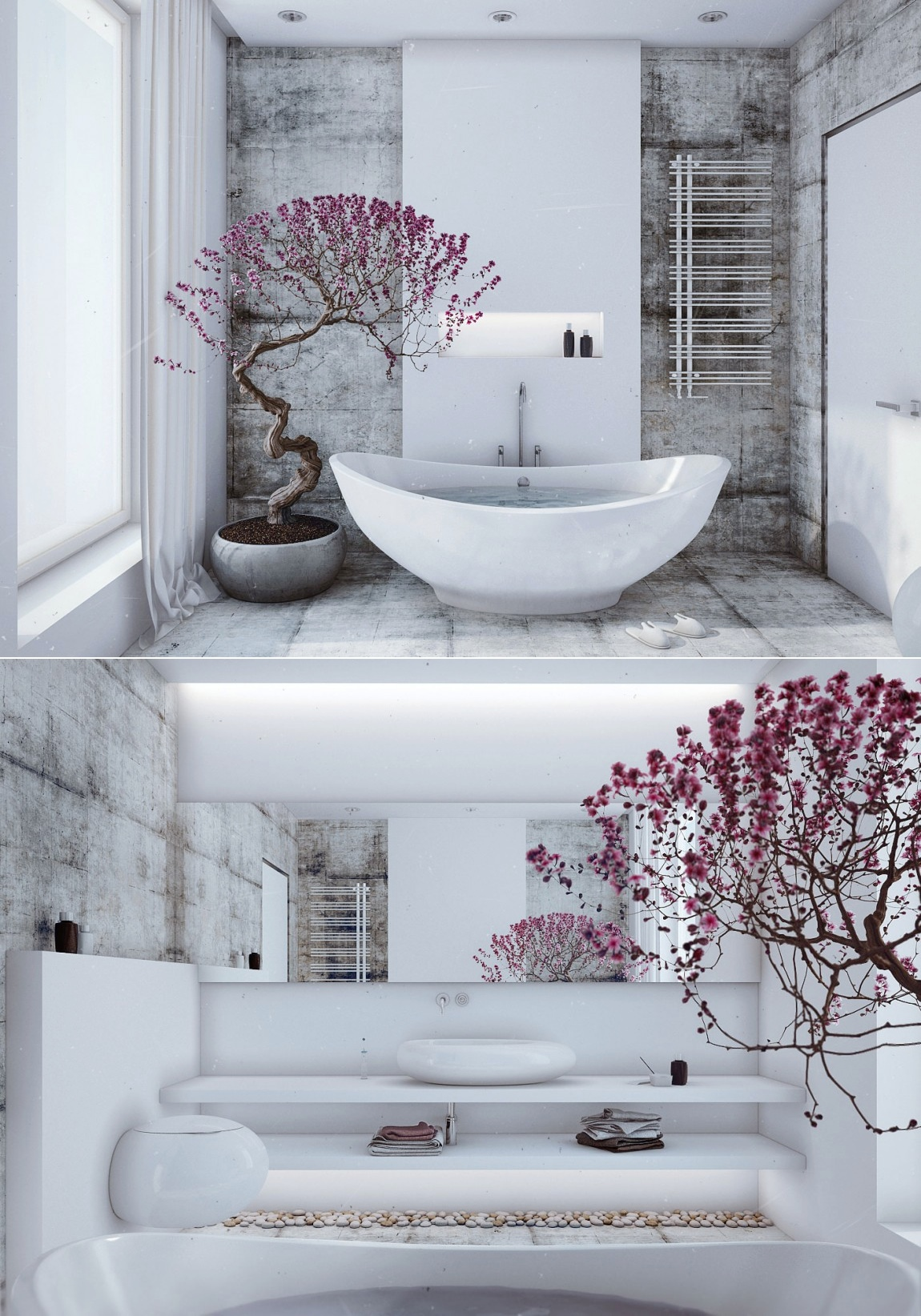 Zen inspired interior design for Asian style bathroom designs