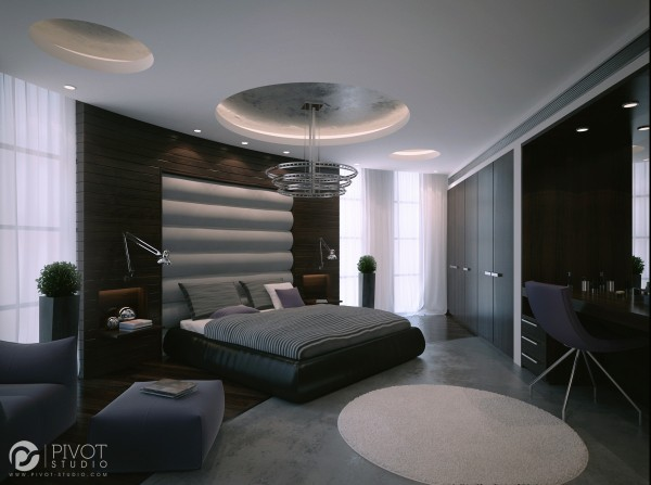 An undulating headboard appears to sit within the wall treatment of this luxury master suite.