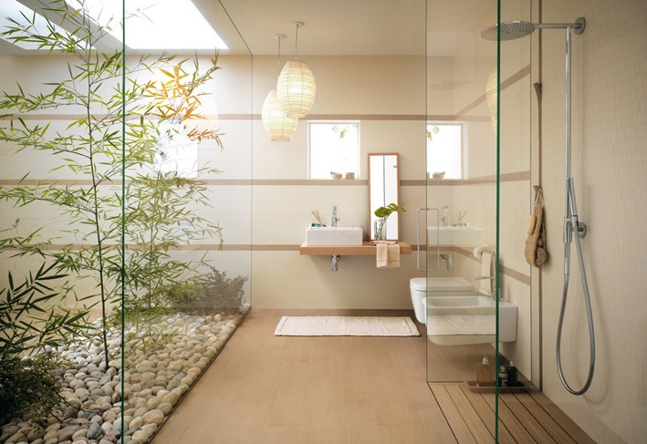 Zen bathroom garden interior design ideas for Asian small bathroom design