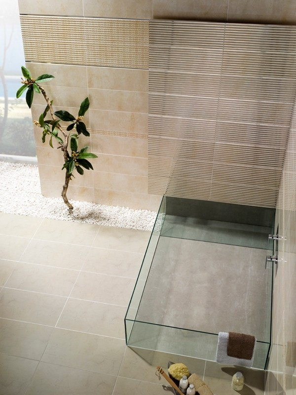 This highly contemporary straight edged bath tub harks at the minimalistic lines of zen influence.