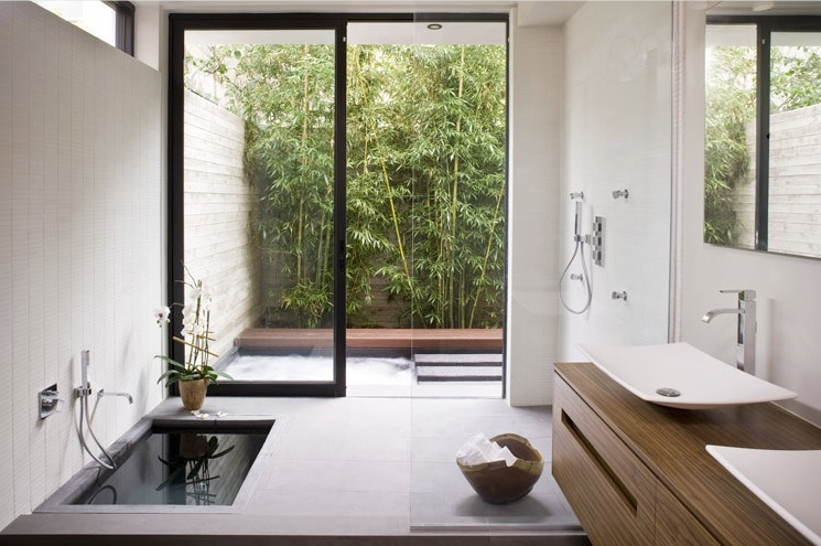 Zen bathroom sunken bath tub interior design ideas for Bathroom designs outside