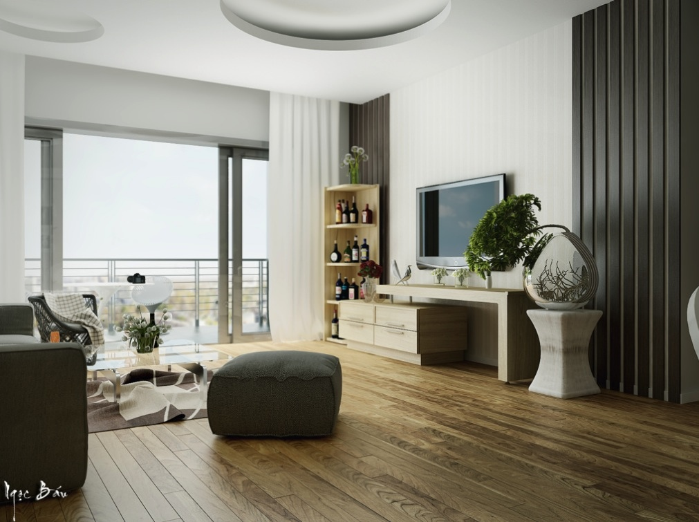 Gray White Living Room - Interiors with natural and rustic accents