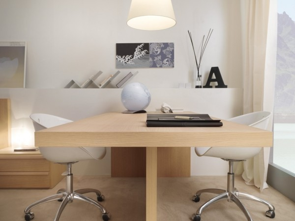 If there are two family members that work from home, this dual sided desk is a compact and tasteful choice.