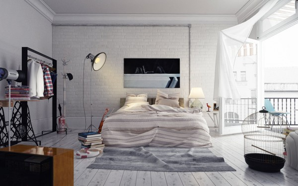 This loft style bedroom is perfect for laid-back hipsters and arty types.