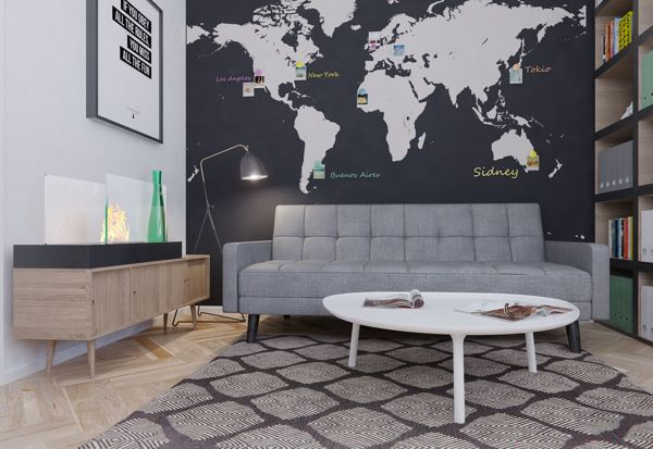 This study has a striking wall mural of the world, where personal pictures from trips abroad can be displayed next to the destinations at which they were taken. A small lounge area has been introduced into the space to provide an opportunity to take a break from the computers, without leaving the quiet sanctuary of the work room.