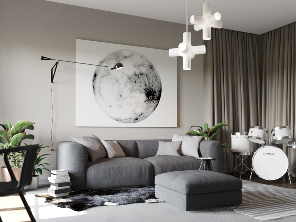 In this scheme, unusual wall art and pendant lights set a slightly space-age theme. The room is decorated in shades of gray that are brightened by a good dose of fresh white accents.