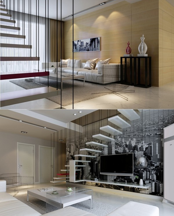 The floating staircase suspended in this lounge appears like a piece of sculptural art.