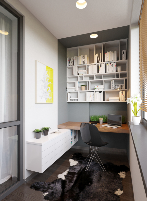 This home office area has been built around an awkward nib to make great use of an otherwise unused corner. Notice how the paint color marks out the work area by running straight up to the outer edge of the desk.