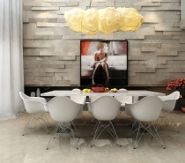Extruded feature walls provide a dramatic backdrop.