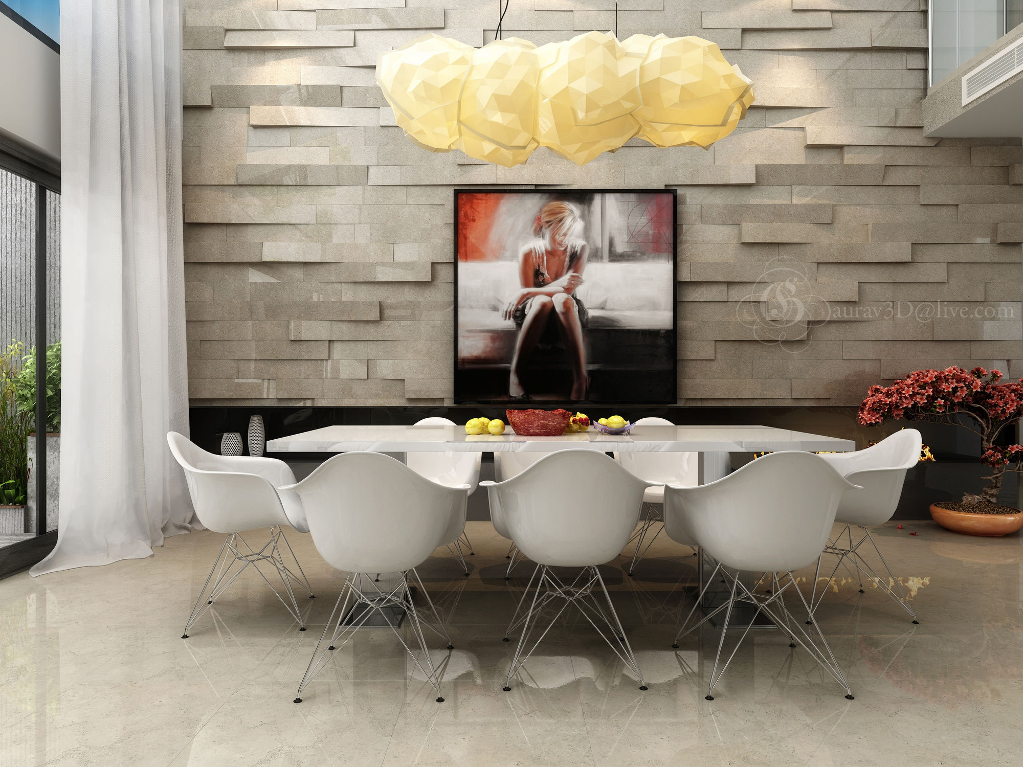 20 dining rooms visualized for Wall designs for dining area