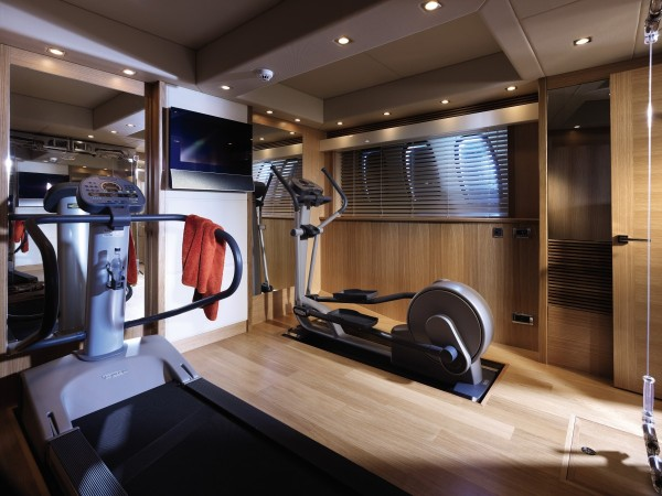 There's even room for a gym to keep the owners in shape whilst out at sea.