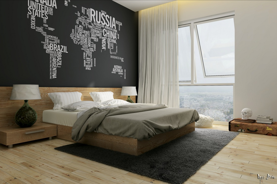Bedroom black feature wall interior design ideas for Feature wallpaper bedroom ideas