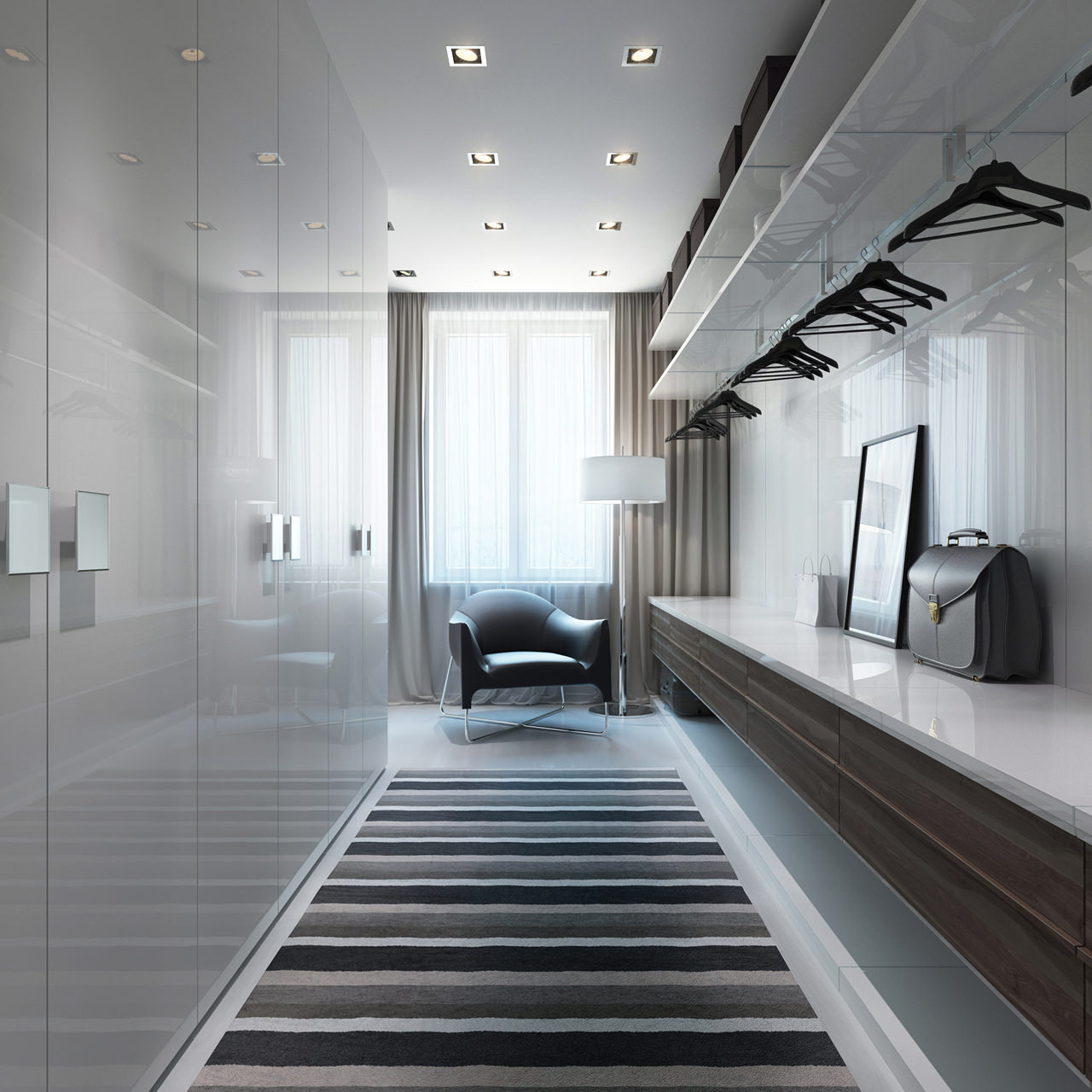 Recessed lighting is neat and on point in this luxury dressing area