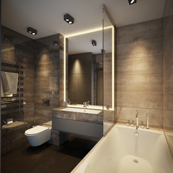 Soft mood lighting gives this bathroom a luxurious look.