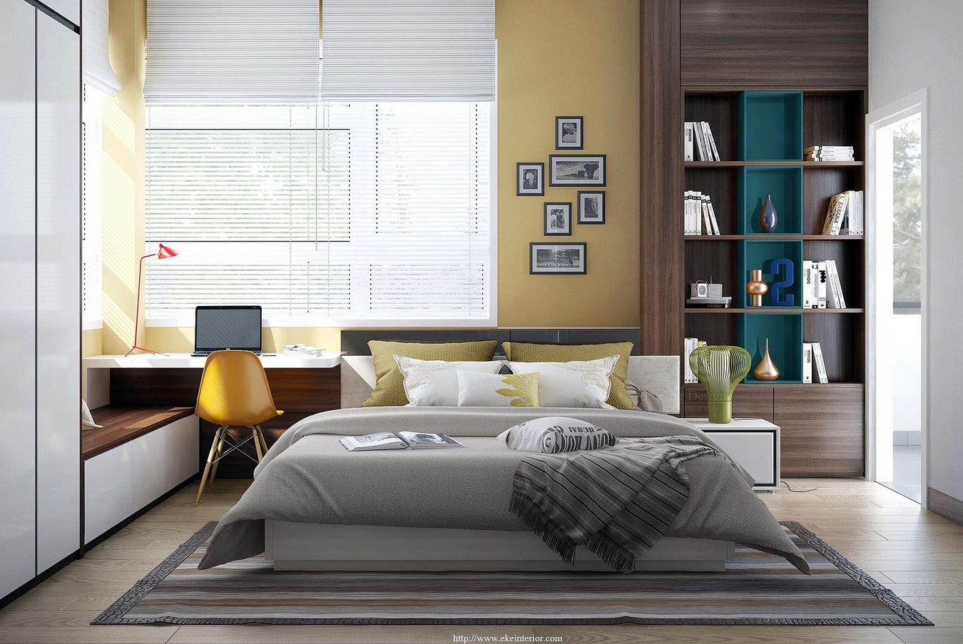 yellow white bedroom decor : modern bedroom concepts