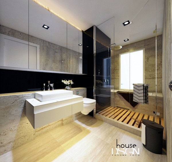 This floating vanity unit and toilet make the floor area of this smart bathroom scheme appear much larger than its actual proportions. Interestingly, the bathtub is located within the shower cubicle in this layout, keeping both the major wash items in one screened-off splash zone.