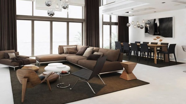 Strong brown and black furniture adds weight to an open plan white home.