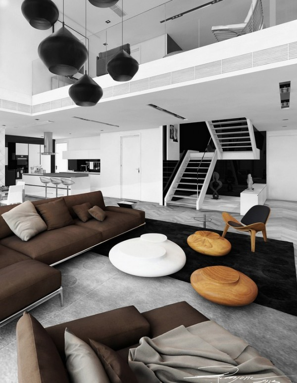 Open plan brown white living space