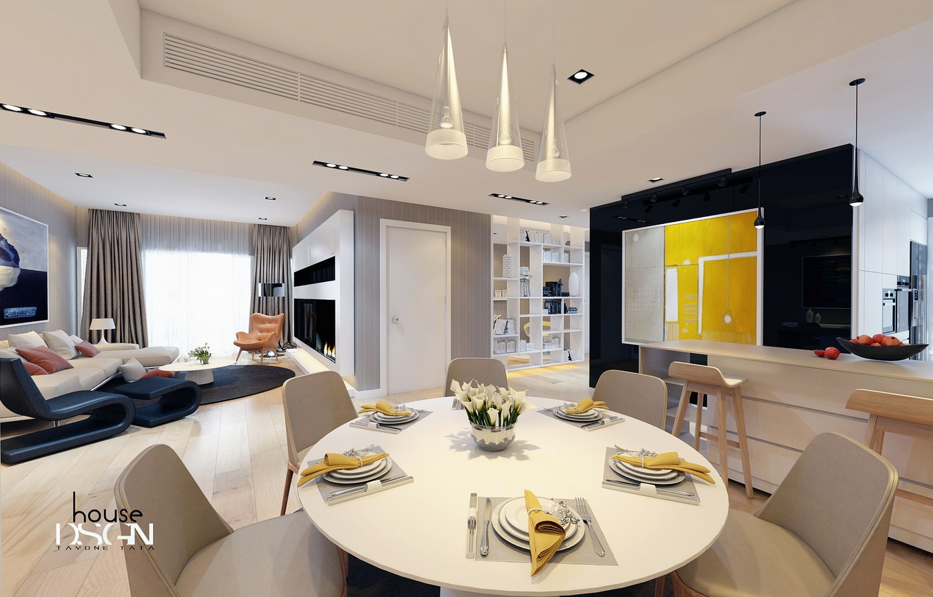 White Lounge Dinerinterior Design Ideas