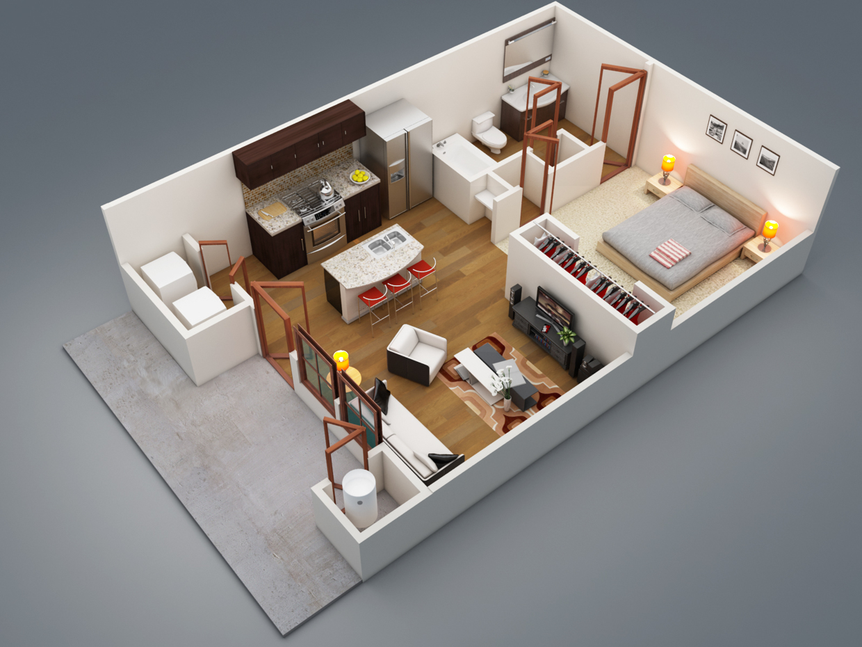 1 bedroom apartment.  1 Bedroom Apartment House Plans