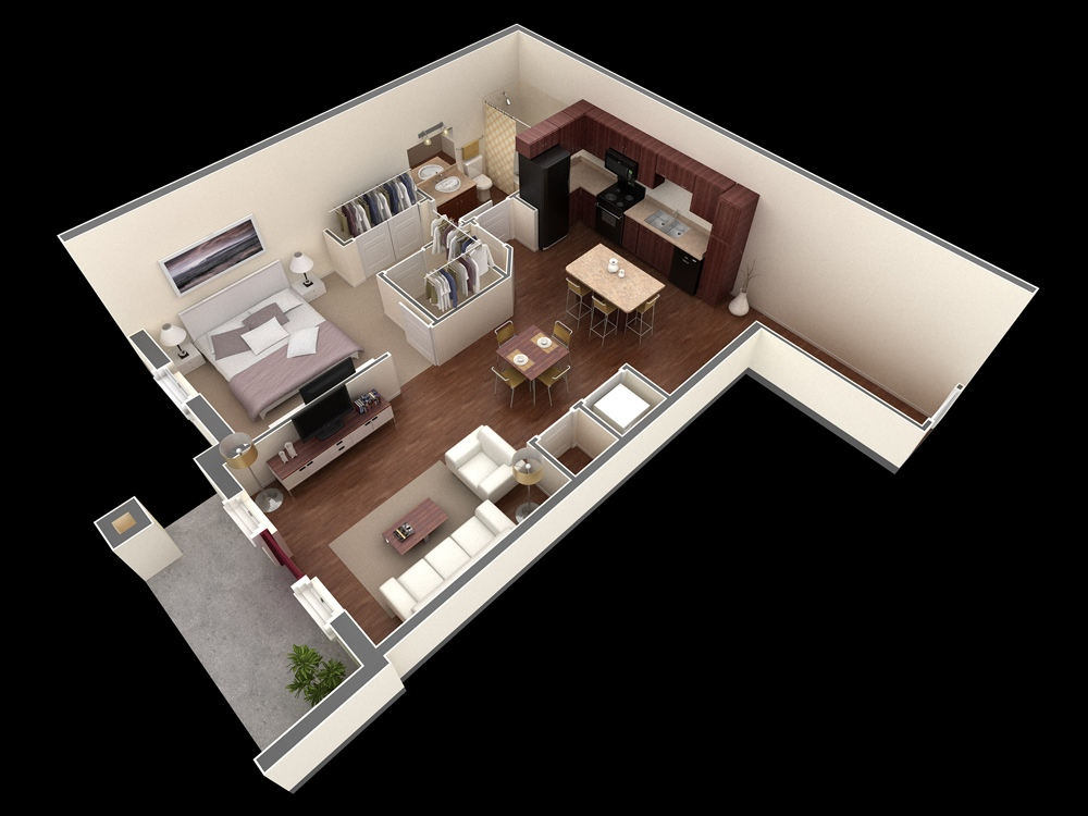 1 bedroom apartment house plans for In plan 3d