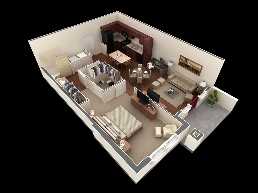 1 Bedroom House Apartment Plan Interior Design Ideas