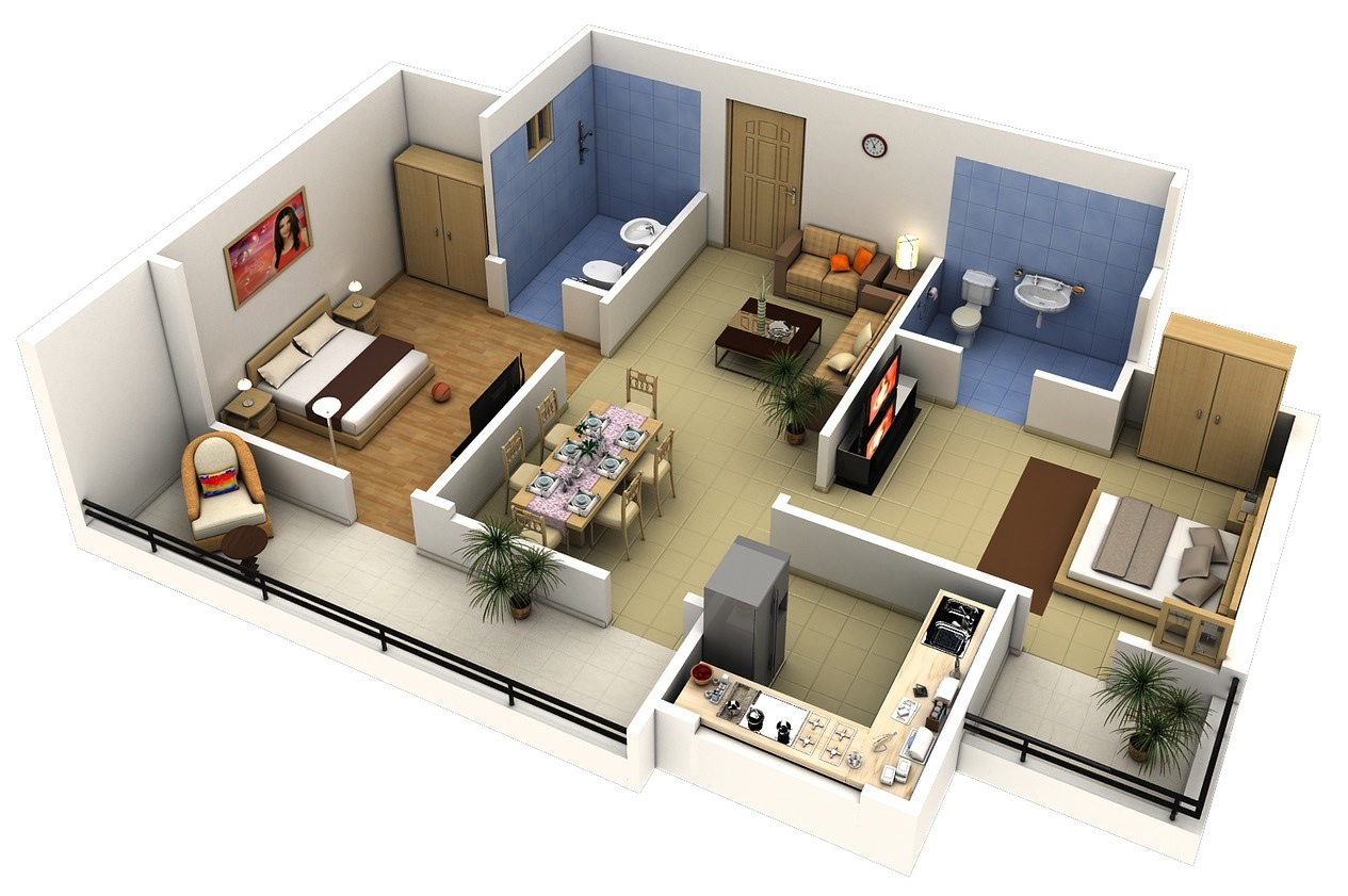 2 bedroom apartment house plans for Small two bedroom apartment floor plans
