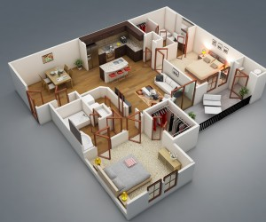 Attirant ... 2 Bedroom Apartment/House Plans ...
