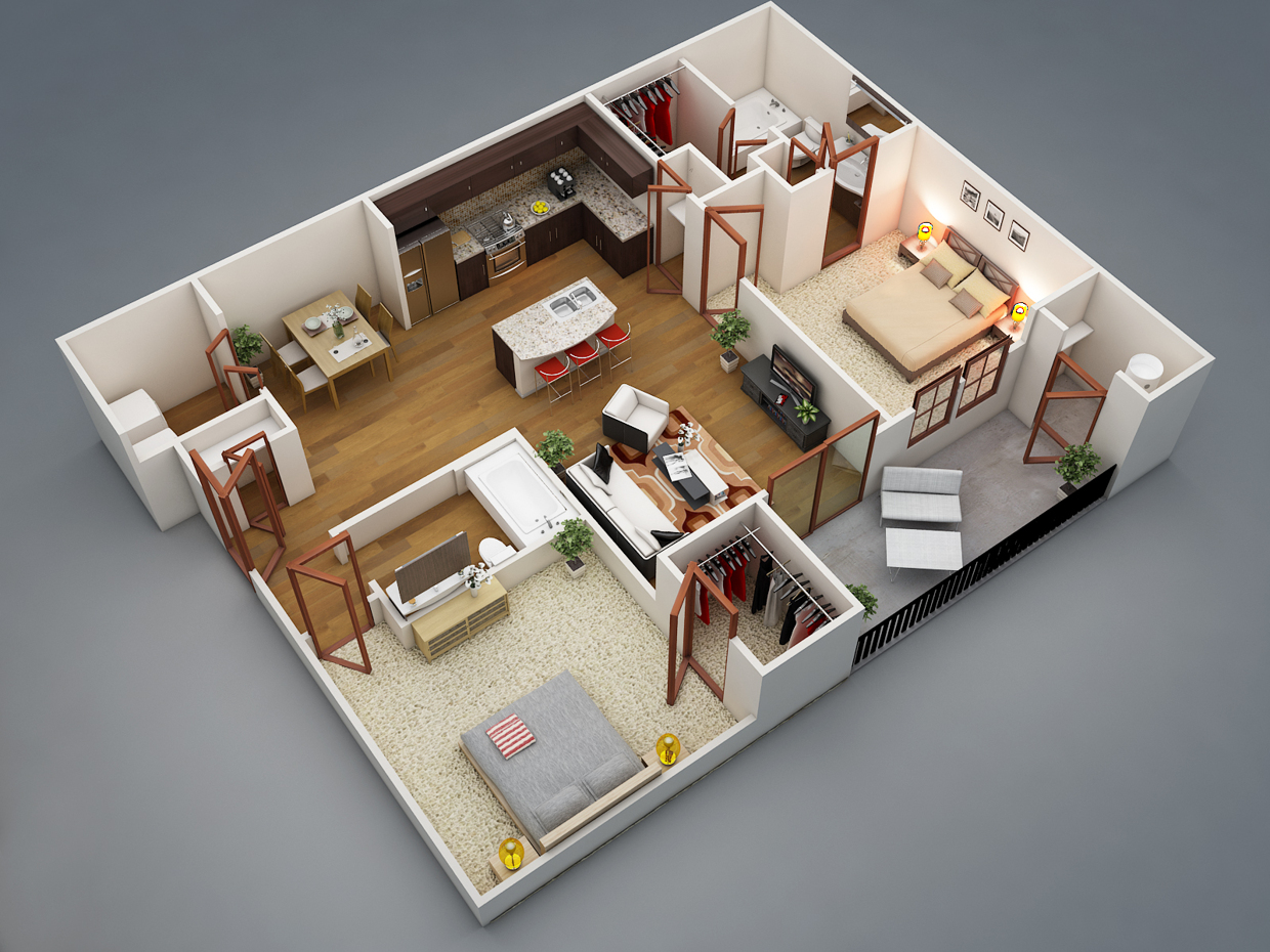 layout that wraps each bedroom around a large shared living area