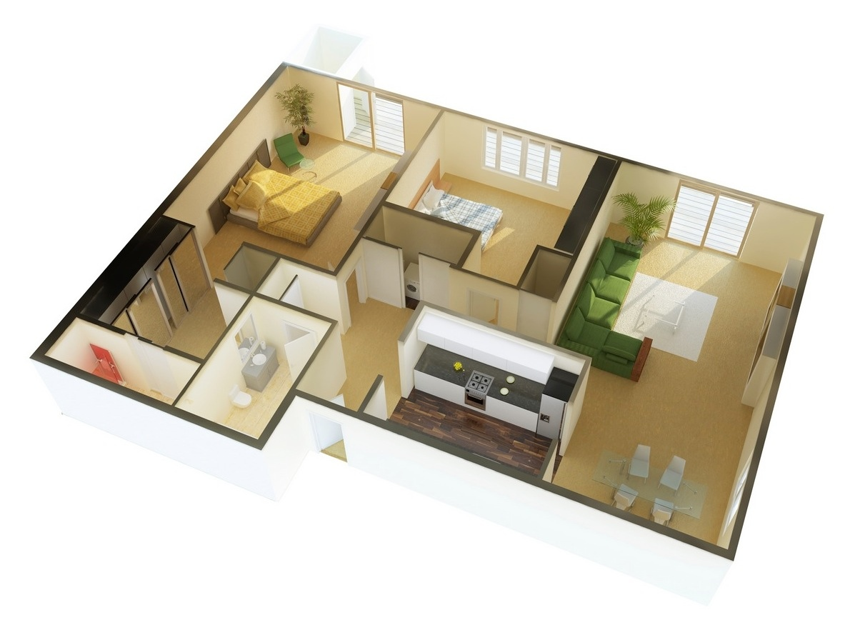 2 bedroom apartment house plans for Two bedroom home plans