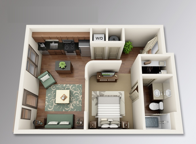 Studio apartment floor plans - Dishwasher small space plan ...