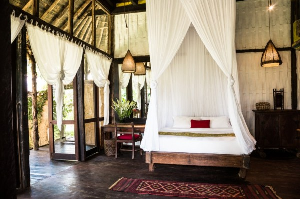 Other properties throughout Bambu Indah have features like glass tiled roofing, lavish Moroccan rugs, Indonesian fabrics, Burmese lacquerware, antiques, four poster beds, porches for lounging and meditation, or a private bale for dining.