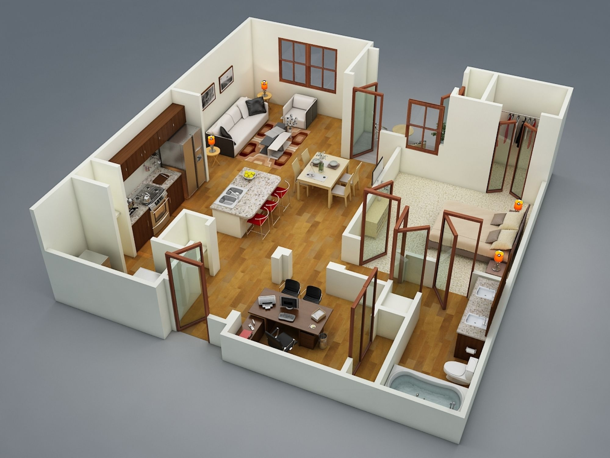 1 bedroom apartment house plans for Apartment design 3d