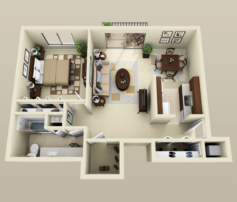 1 bedroom apartment house plans smiuchin for Minimalist one room apartment