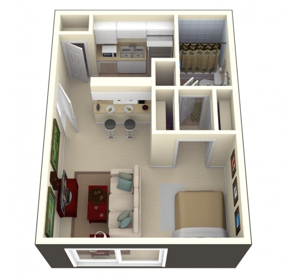 Designeer paul studio apartment floor plans Studio house plans one bedroom