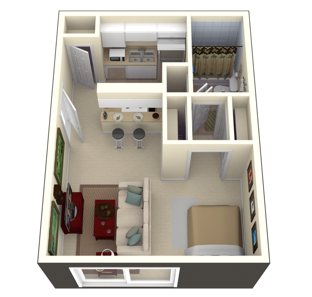 Studio apartment floor plans for Decorar casa 60 m