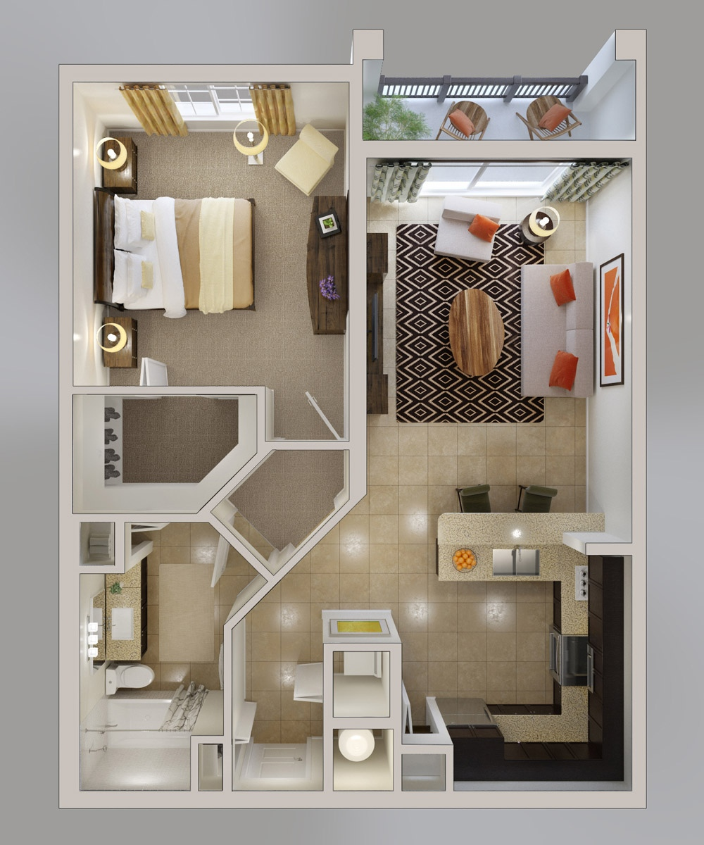 1 bedroom apartment house plans smiuchin - Bed room plan ...