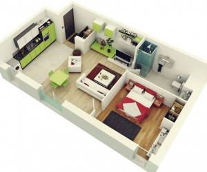 1 bedroom apartmenthouse plans - Simple House Plan With 2 Bedrooms 3d